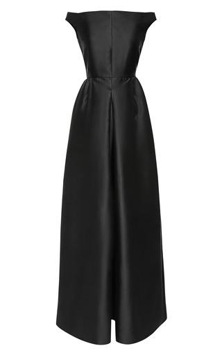 Medium rochas black bucol wool silk off shoulder gown