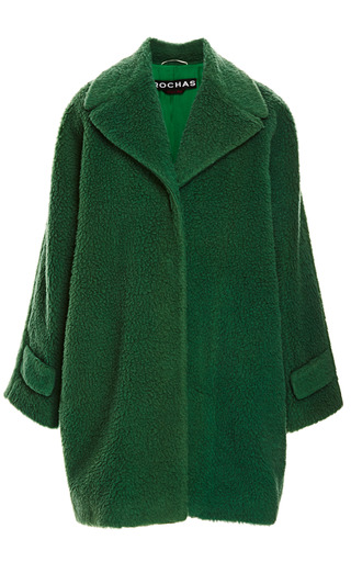 Emerald Green Peluche Wool Oversize Coat by ROCHAS for Preorder on Moda Operandi