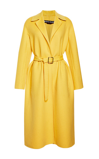 Medium rochas yellow doubleface wool angora wrap coat