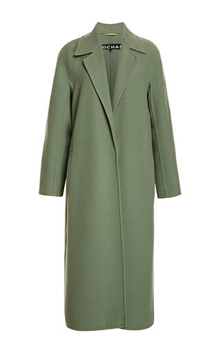 Medium rochas green doubleface wool cashmere wrap coat