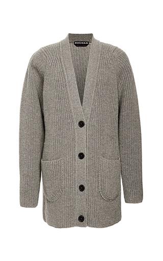 Medium rochas dark grey melange grey cashmere boyfriend cardigan