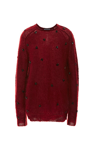 Medium rochas red blood red bee embroidered mohair sweater