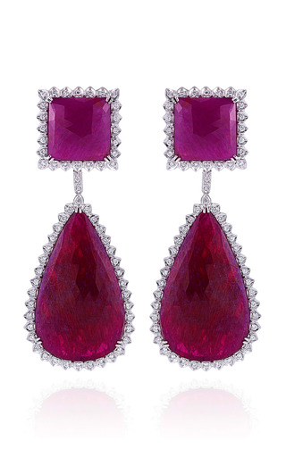 One Of A Kind Ruby And Diamond Earrings In White Gold by DANA REBECCA for Preorder on Moda Operandi