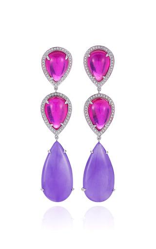 Medium dana rebecca pink one of a kind ruby lavendar jade and diamond earrings in white gold