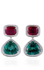 One Of A Kind Rubelite And Green Tourmaline Earrings In White Gold by DANA REBECCA for Preorder on Moda Operandi