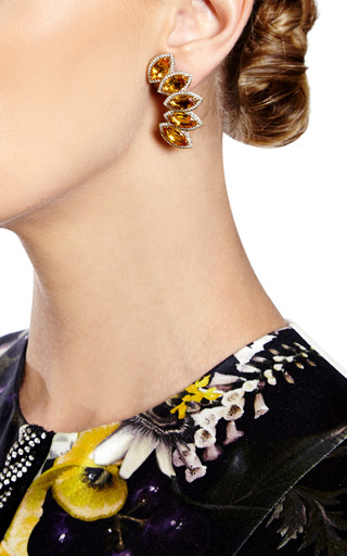 One Of A Kind Citrine And Diamonds In Earrings Yellow Gold by DANA REBECCA for Preorder on Moda Operandi