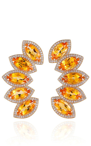 Medium dana rebecca yellow one of a kind citrine and diamonds in earrings yellow gold