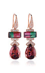 One Of A Kind Tourmaline And Diamonds Earrings In Rose Gold by DANA REBECCA for Preorder on Moda Operandi