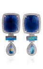 One Of A Kind Blue Sapphire And Diamond Earrings In White Gold by DANA REBECCA for Preorder on Moda Operandi