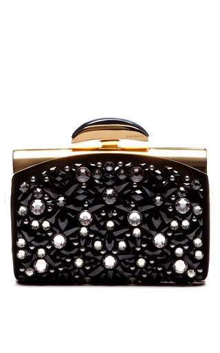Medium nina ricci black le bal minaudiere with swarovski elements