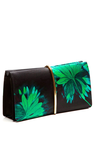 Flower Printed Satin Arc Clutch by NINA RICCI for Preorder on Moda Operandi