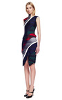 Slashed Spiral Dress In Multi Tonal Rugby Stripe by THOM BROWNE for Preorder on Moda Operandi