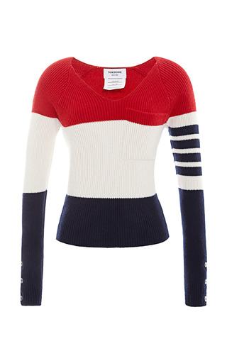 Medium thom browne stripe raglan sleeve rib knit sweater in rugby stripe cashmere
