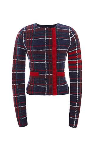 Medium thom browne plaid knit tweed cardigan jacket in plaid knit tweed