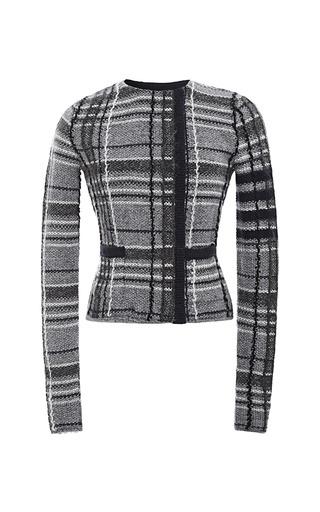 Medium thom browne navy knit tweed cardigan jacket plaid in knit tweed