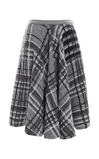 Medium thom browne navy flared front knit tweed skirt in plaid knit tweed