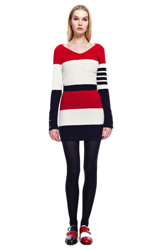 Mini Rib Knit Skirt In Rugby Stripe by THOM BROWNE for Preorder on Moda Operandi