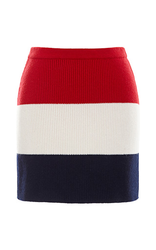Medium thom browne stripe mini rib knit skirt in rugby stripe
