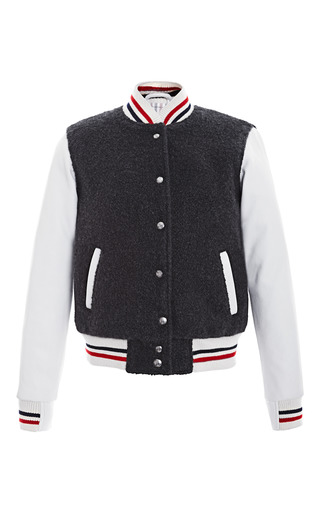 Medium thom browne white letterman jacket in cashmere boucle