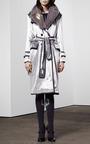 Detailed Trench Coat In Velvet by THOM BROWNE for Preorder on Moda Operandi