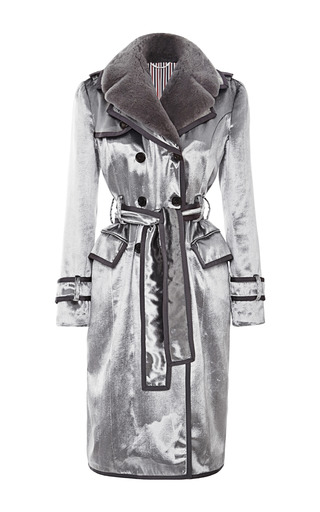 Medium thom browne silver detailed trench coat in velvet