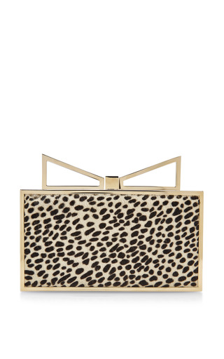 Medium sara battaglia black lady me leopard print calf hair clutch