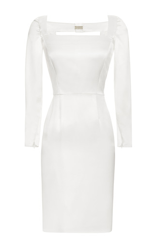 Medium katie ermilio white tailor bow evening sheath dress