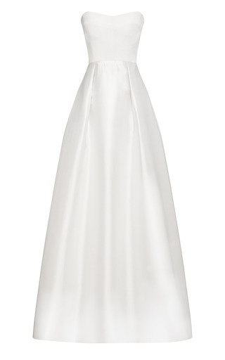 Medium katie ermilio white strapless evening gown