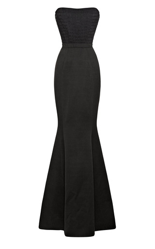 Medium katie ermilio black combo fishtail evening gown