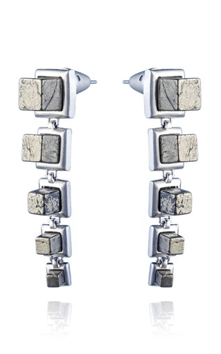 Medium eddie borgo silver graduated gemstone cube drop earring