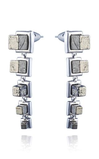 Medium eddie borgo silver graduated gemstone cube drop earring