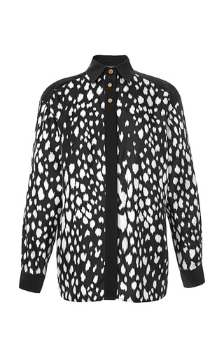 Medium fausto puglisi black abstract animal spots blouse