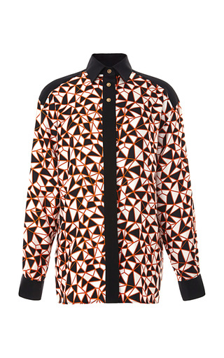 Medium fausto puglisi print geo blocked long sleeve blouse