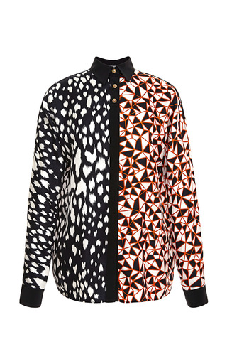 Medium fausto puglisi print abstract animal and geo blocks shirt
