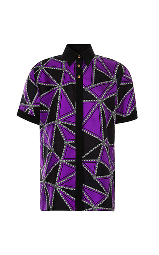 Geo Blocked Silk Twill Shirt by FAUSTO PUGLISI for Preorder on Moda Operandi