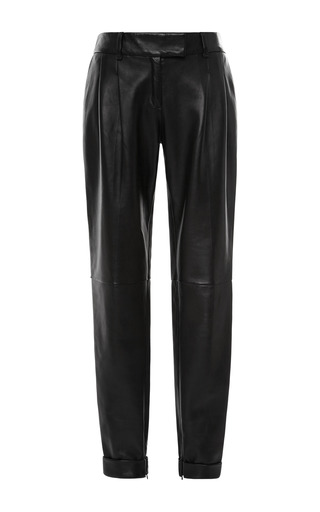 Medium fausto puglisi black pleat front leather trousers