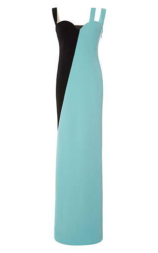 Medium fausto puglisi light green asymmetric wool crepe gown