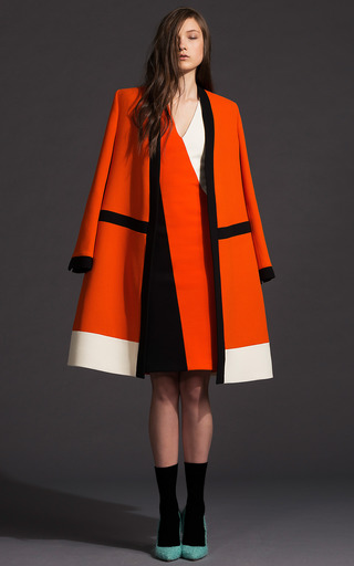 Bright Tomato Color Blocked Sheath Dress by FAUSTO PUGLISI for Preorder on Moda Operandi