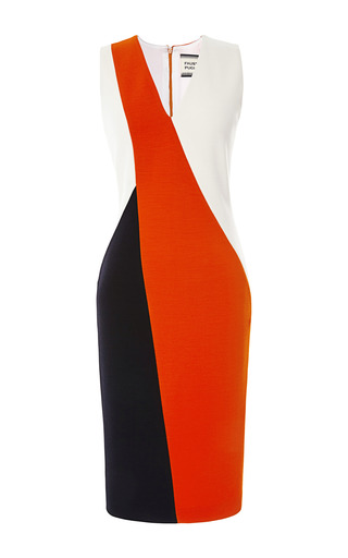 Medium fausto puglisi red bright tomato color blocked sheath dress