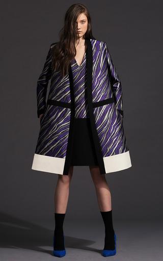 Zebra Stripe Jacquard Combo Shift Dress by FAUSTO PUGLISI for Preorder on Moda Operandi