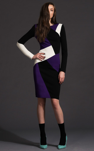 Patchwork Wool Crepe Sheath Dress by FAUSTO PUGLISI for Preorder on Moda Operandi