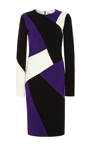 Medium fausto puglisi multi patchwork wool crepe sheath dress