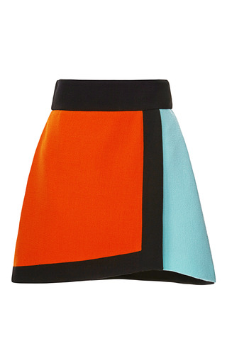 Color Blocked Wool Crepe Wrap Skirt by FAUSTO PUGLISI for Preorder on Moda Operandi