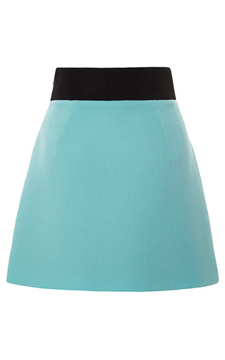 Medium fausto puglisi light green color blocked wool crepe mini skirt