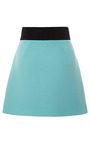 Color Blocked Wool Crepe Mini Skirt by FAUSTO PUGLISI for Preorder on Moda Operandi