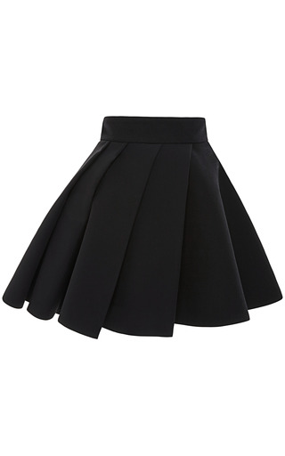 Medium fausto puglisi black black cady mini skirt with pleated overlay