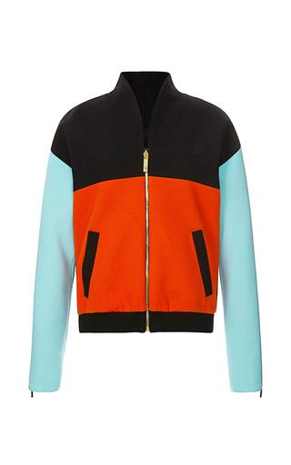 Medium fausto puglisi multi color blocked wool crepe bomber jacket