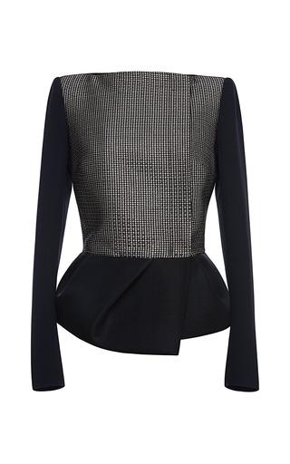 Medium antonio berardi black textured metallic jacket with solid sleeves