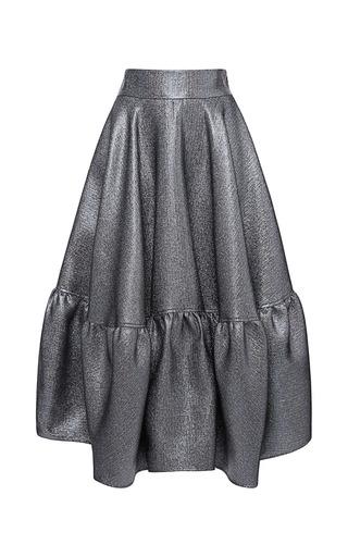 Medium antonio berardi silver mercury metallic ruffle hem skirt
