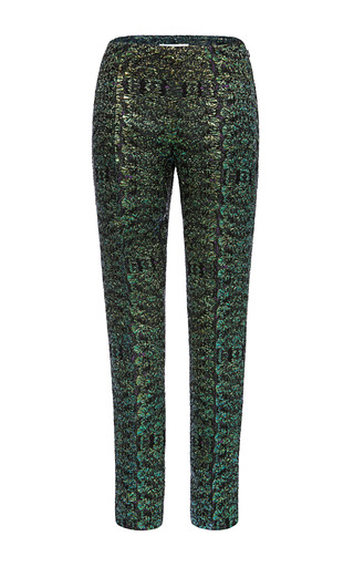 Medium antonio berardi green bottle green iridescent cloque cigarette pants